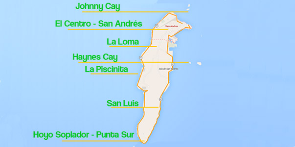 Map of San Andrés Colombia